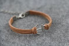 Antiqued Silver Anchor Bracelet Leather Rope by WearingPretty, $1.99