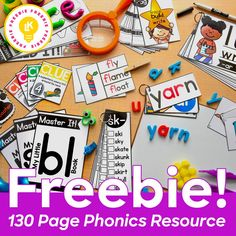 Grab this 130 page phonics freebie! Phonics Reading, Teaching Phonics, Free Teaching Resources, Phonics Activities, Kindergarten Literacy, Language Activities, Reading Activities, Teaching Reading, Phonics For Preschool