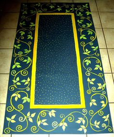 "a rug painted on heavy canvas and treated with an oil based polyacrylic for a long lasting and durable finish. $100 countryfloorcloths on Etsy    This floorcloth measures 36"" x 56""    The colors are MIDNIGHT BLUE, YELLOW, AND SPRING GREEN"