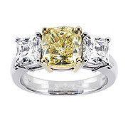 3 Stone Fancy Intense Yellow Diamond Engagement Ring, in platinum; Birks, Canada