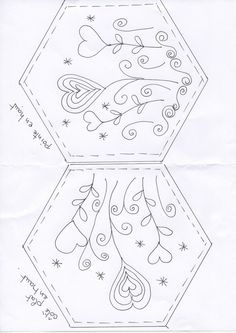 Un petit défi... embroidery pattern for a hexagon. This would make a Great Needle Book!!  jwt