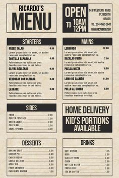 Create beautiful menus and wall boards for your restaurant, cafe or bar by customizing our easy to use templates. Add your content and be done in minutes! Restaurant Poster, Restaurant Menu Template, Restaurant Menu Design, Restaurant Restaurant, Restaurant Identity, Menu Vintage, Cafe Menu Design, Food Menu Design, Speisenkarten Designs