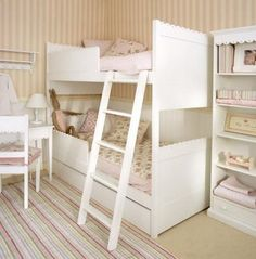bunk beds- safe for toddlers. Don't like all white