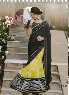 Yellow Block Pure Georgette Party Wear Saree