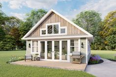 Modern Farmhouse Plan: 1,257 Square Feet, 2 Bedrooms, 2 Bathrooms - 041-00227 Guest House Plans, Small Cottage House Plans, Small Cottage Homes, Small Cottages, Small House Plans, House Floor Plans, Guest Cottage Plans, Retirement House Plans, Small Homes