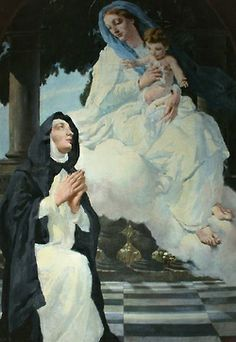 A painting of Mary appearing to St Bridget of Sweden in Vulsugana, Italy. Catholic Saints, Roman Catholic, St Bridget Of Sweden, Sacred Heart, Holy Spirit, Unique Art, Reflection, Spirituality, Mary