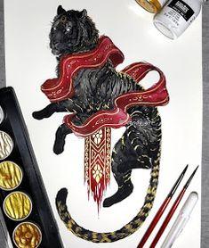 Mythology and Fantasy in Animal Paintings - Caroon Tattoo Oriental, Tattoo No Peito, Mononoke, Petit Tattoo, Japanese Tattoo Art, Mythical Creatures Art, Viking Art, Wow Art, Dragon Art