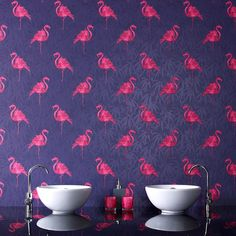 Pink Flamingo Wallpaper - Purple Retro Wall Coverings by Graham  Brown