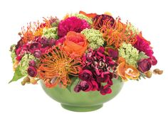 "Natural Decorations, Inc. - Protea Hydrangea Rose | Celedon Bowl | Orange Fuchsia Green, 11""x16"" $625"