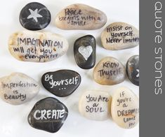 Be Postive Day 21   DIY Quote Stones...hmmm they will need to work on their handwriting but this is cool.  And we have lots of rocks