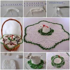 DIY Crochet Napkin and Lamb for Easter Basket 1