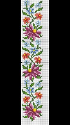 Цветы Cross Stitch Bookmarks, Cross Stitch Art, Cross Stitch Borders, Cross Stitch Flowers, Cross Stitch Designs, Cross Stitching, Cross Stitch Embroidery, Cross Stitch Patterns, Bead Loom Patterns