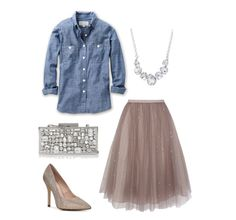 A great piece of style unexpected. Chambray and Tulle rock this ultra fem look with a funky twist!
