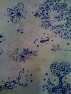 Mary Engelbreit fabric. really drawn to the simplicity and ink pen effect of blue ink for tattoos.