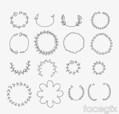 16 painted wreath vector