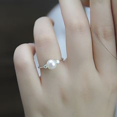 Real pearl ring,cubic zirconia engagement rings,june birthstone ring,cheap wedding rings,eternity ring,love ring,fashion rings,open ring by PearlOnly on Etsy https://www.etsy.com/listing/201918986/real-pearl-ringcubic-zirconia-engagement #weddingring