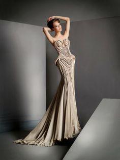 Sexy textured sand gown- Blanka Matragi
