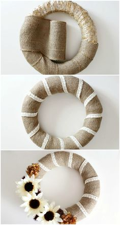 Burlap and Lace Fall Wreath : Step Collage Step Collage Burlap Crafts, Wreath Crafts, Diy Wreath, Wreath Burlap, Tulle Wreath, Burlap Lace, Door Wreaths, Burlap Wrapped Wreath, Ribbon Wreaths