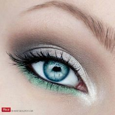 Check out these great eye makeup tutorials for blue eyes. We love this green and silver look. Get amazing eye makeup from liners to lashes