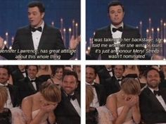 Haha Jennifer Lawrence embarrassed at oscars Jennifer Lawrence Funny, Jennifer Lawrence Hunger Games, Jenifer Lawrance, Hunger Games Cast, J Law, Catching Fire, Mockingjay, Queen, Laugh Out Loud