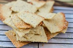 Gluten free nut free and paleo friendly tahini and wholegrain mustard crackers. Perfect for the festive season and kids school lunches. Lunch Snacks, Savory Snacks, Paleo Appetizers, Healthy Snacks, Healthy Eating, Paleo Bread, Low Carb Bread, Whole Food Recipes, Snack Recipes