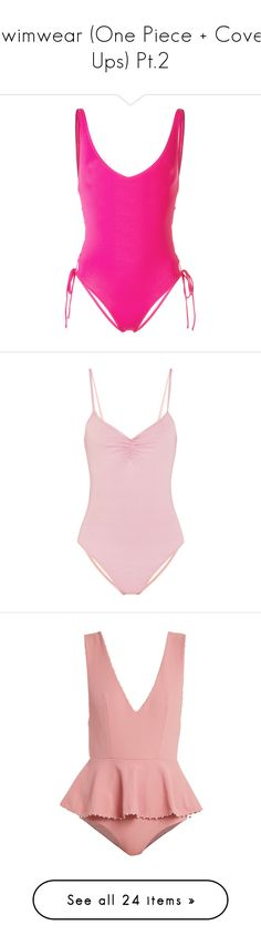 """Swimwear (One Piece + Cover Ups) Pt.2"" by amalilly619 ❤ liked on Polyvore featuring swimwear, one-piece swimsuits, pink, pink bathing suits, pink one piece swimsuit, pink swimwear, bathing suit swimwear, swimsuit, pastel pink and slimming one piece swimsuit"