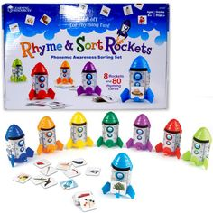 Children will have a blast sorting, rhyming, matching, and playing with this Rhyme & Sort Rockets Learning Toy. Manufactured by Learning Resources.