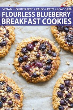 Flourless Blueberry Breakfast Cookies made with oatmeal banana and LOADED with fresh blueberries Naturally sweetened it comes with a KETO PALEO option breakfast breakfastcookies blueberries recipe vegancookies Breakfast Cookie Recipe, Delicious Breakfast Recipes, Yummy Food, Healthy Breakfast Cookies, Oatmeal Breakfast Cookies, Baked Oatmeal Cups, Banana Oatmeal Cookies, Easy Paleo Breakfast, Vegan Breakfast Casserole