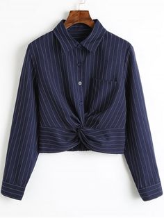Twist Cropped Stripes Shirt - STRIPE S