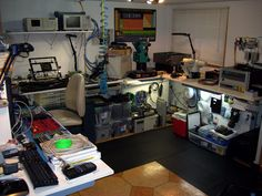 Electronics research lab.  Very nice flip-style PCB holder.
