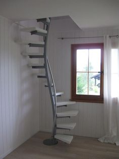 Chic, elegant 1 sqm space-saving staircase as a corner solution with white laminate steps . Chic, elegant 1 sqm space-saving staircase as a corner solution with white laminate steps. The barn house is a relic of . Attic Bathroom, Attic Rooms, Attic Playroom, Master Bathroom, Attic Office, Attic Closet, Garage Attic, Attic Library, Attic Apartment