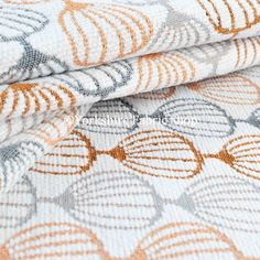 Orange Grey White Geometric Balloon Pattern Soft Chenille Upholstery Fabric MDLY 11457 034 1835
