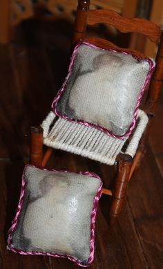 Early American style cushions made by transferring image to fabric.  http://stores.ebay.com/happyharvesterminiatures