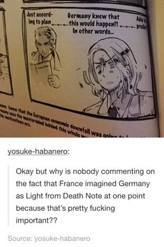 """Oh my god he did....he is holding a """"France Note"""".....XD Hetalia"""