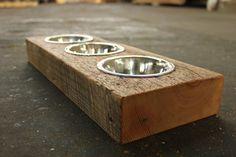 Wood Dog or Cat Dish Holder reclaimed hemlock by VintageLumber, $44.00