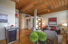 Small Space Living, Living Spaces, Toronto Lofts, Industrial Office Space, Hardwood Floors, Flooring, Wood Ceilings, Exposed Brick, Beams