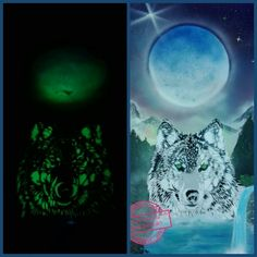 #Wolf and #Moon #Montana #nightglow