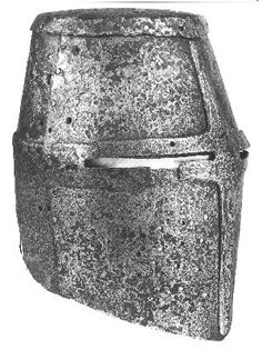 The Dargen helm. The two helms in the line drawings seem to be very similar and… Medieval Helmets, Medieval Armor, Medieval Stained Glass, Early Middle Ages, Knight Armor, Armours, Arm Armor, Knights Templar, Mirror Image