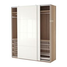 IKEA - PAX, Wardrobe, soft closing damper, , 10-year Limited Warranty. Read about the terms in the Limited Warranty brochure.You can easily adapt this ready-made PAX/KOMPLEMENT combination to suit your needs and taste using the PAX planning tool.Sliding doors allow more room for furniture because they don't take any space to open.The soft-closing device catches the running doors so that they close slowly, silently and softly.If you want to organize inside you can complement with interior…
