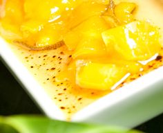 ... topped with caramelized vanilla bean sugar & mango-lime compote