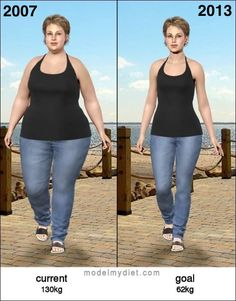 In 2007 Diana was 130kg.  Now she is 62kg.