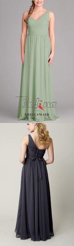 Country sage green one shoulder pleated long chiffon a-line bridesmaid dress. Pleated bodice features a uniquely-cut shirred one-shoulder neckline. Cinched waist has a self-tie which helps define a charming a-line silhouette. The sweeping floor chiffon s Sage Bridesmaid Dresses, Pleated Bodice, One Shoulder, Chiffon, Neckline, Summer Dresses, Country, Board, Green