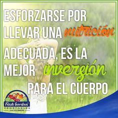"""""""Esforzarse por llevar una nutrición adecuada, es la mejor inversión para el cuerpo"""" #FraseDelDía #Motivación  #nutrición #salud"""