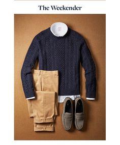 Sweater, Chinos, Shirt