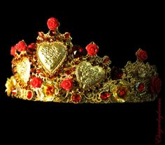 SPANISH-FIESTA-Crown-Red-D-G-Headband-Swarovski-Gold-Handmade-Tiara-Headband
