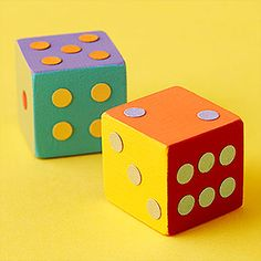 You could also make these have actions to play along to: One block says jump, dance, stretch, etc and the other has the number to tell how many times. Jumbo Wooden Dice from Parents... love the comment:  If over a cube tissue box and draw or glue on dots and you can make this at home