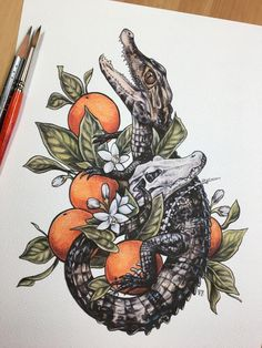 Always wanted a Florida tattoo to remind me of home and if alligators and orange.Always wanted a Florida tattoo to remind me of home and if alligators and oranges don't scream of the swampy state. Thanks to the artist for the inspiration, it Body Art Tattoos, Tattoo Drawings, Small Tattoos, Art Drawings, Tattoo Pics, Mandala Avant Bras, Krokodil Tattoo, Alligator Tattoo, Florida Tattoos