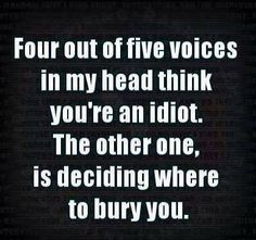 Four out of five voices in my head think you're an idiot. The other one, is deciding where to bury you.