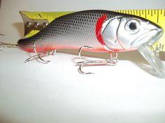 "5"" Med Dive Bass Striper Reds Snook 1Oz.Rattle Crankbait Silver BlackTopRedGill #China"