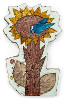 Rut Bryk; Glazed Ceramic Wall Plaque, c1970.